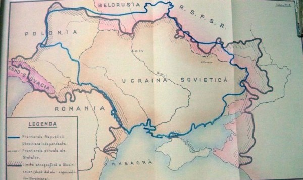 Harta cu variantele de graniţe ale Ucrainei în 1939