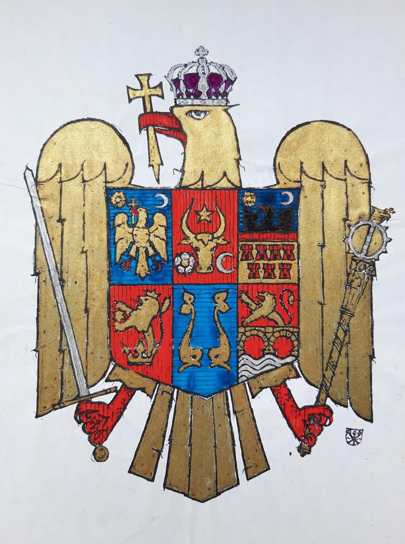 Stema propusă de Jean Nicolas Mănescu și desenată de către Constantin E. Ștefănescu